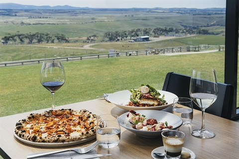 A table with pizza and wine overlooking a vineyard